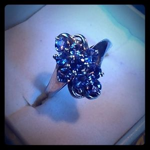 Cluster tanzanite sterling silver ring size 7